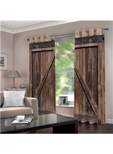 3D Old Wooden Barn Door Decorative Polyester Custom Curtains