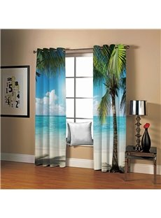 3D Sunny Day Seaside Beach and Coconut Palm Printed Decorative Custom Curtains