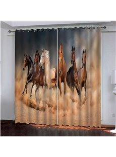 Horses Galloping in the Desert 3D Printed Blackout Decorative Curtains