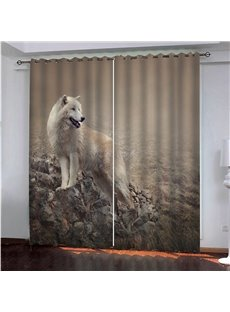 A Wolf On the Rock 3D Painted Decorative Blackout Custom Curtains