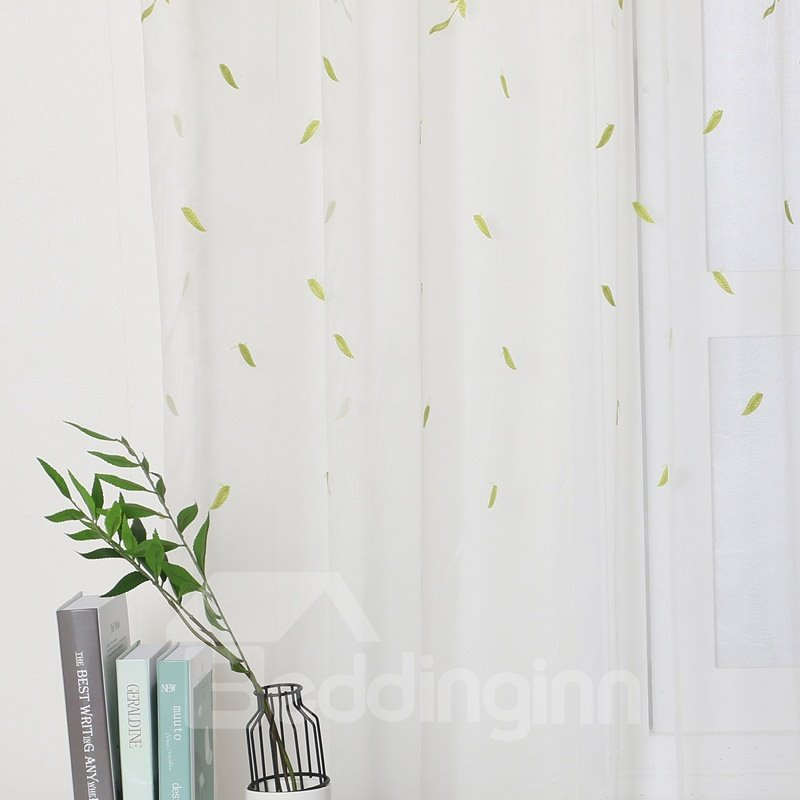 Fresh Style White Voile with Green leaves Embroidered 2 Panels Custom Sheer Custom