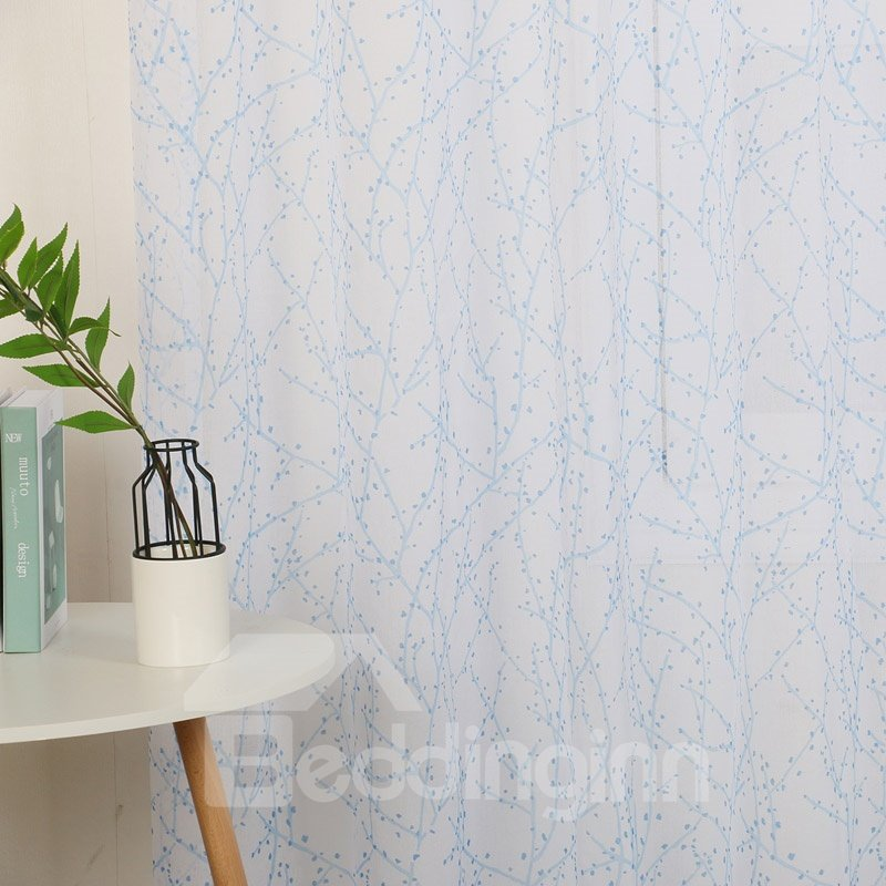 Fresh Style Lint Blue Floral Embroidered Voile Sheer Custom Curtains For Living Room and Bedroom