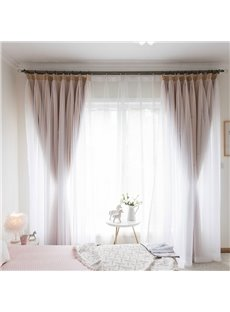 Princess Style Apricot Hollowed-out Star and White Sheer Sewing Together Custom Blackout Curtains