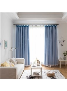 Sky Blue Color Hollowed-out Star and White Voile Sewing Together Custom Curtains
