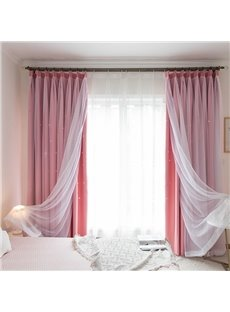 Modern Style Peach Color Hollowed-out Star and White Voile Sewing Together Blackout Curtains