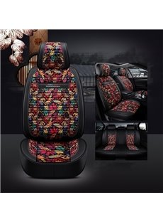 Modern Style Leather+Linen Material Printing Process Design Noble Luxurious Truck Universal Fit Car Seat Covers