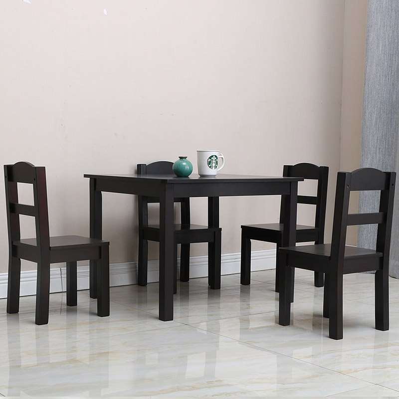 Coffee Pine Wood Table And Wooden Chair, Suitable For Children To Read, Eat, Draw, Build Blocks, Strong And Durable Color