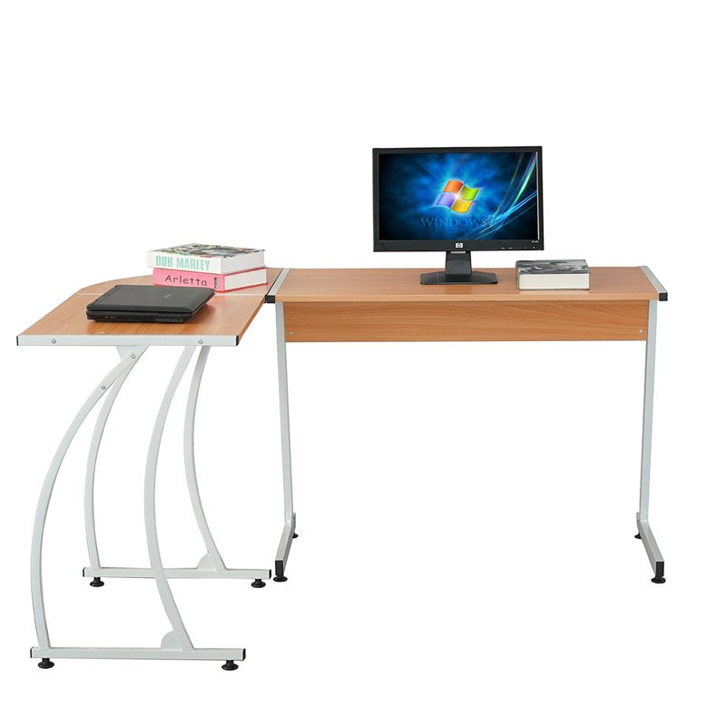 Khaki Color Computer Desk, Combined Design, Less Space, Spacious And Bright, Does Not Hurt The Floor, Easy To Clean