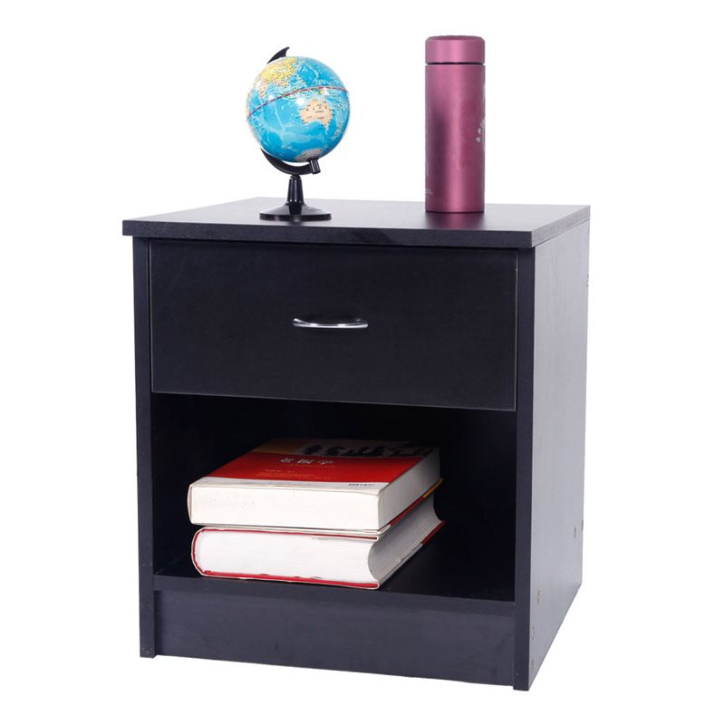 Black Bedside Cabinet, Wooden Structure, Durable And Odor-Free, A Good Thing For Collecting Odds And Ends