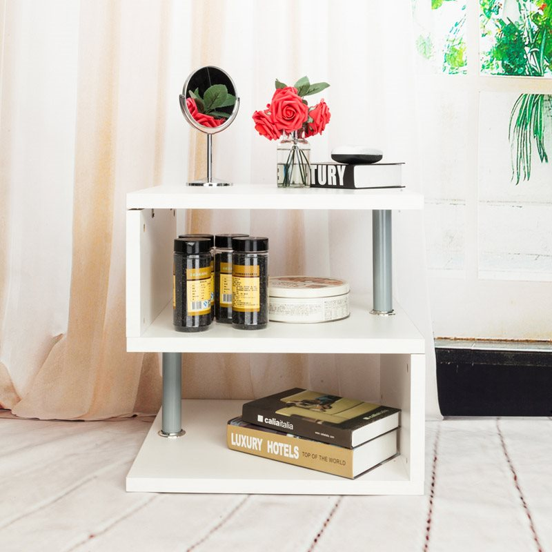 White Wooden Corner Table, S-Shape, Easy To Move, Durable, Does Not Hurt The Floor, Waterproof
