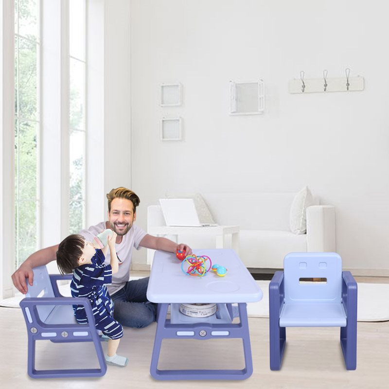 Blue Children's Desk And Chair Set Round Frame, Avoid Children's Injury Good Stability, Easy To Scrub