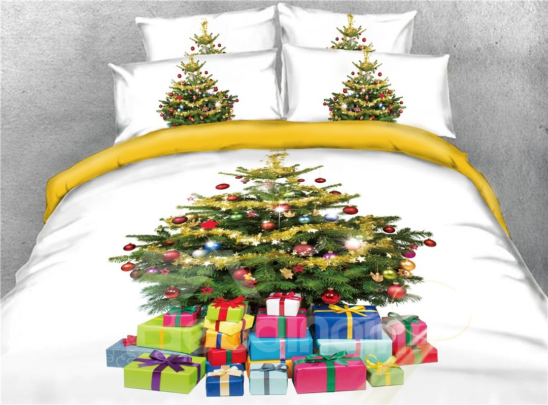 Simple Style Christmas Tree And Presents Warm 3D Printed 5-Piece Comforter Sets