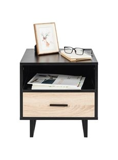 1 Drawer Two-Tier Bedside Cabinet Night Table With The Two-Tier Structural Design Combined Practical With Elegant Perfect For Bedroom Storage
