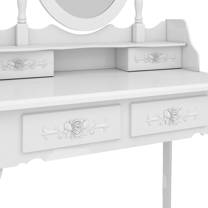 Modern Concise 4-Drawer 360-Degree Rotation Removable Mirror Dresser Made With Superior Wood And MDF, It Brings Great Durability And Ultra Comfort