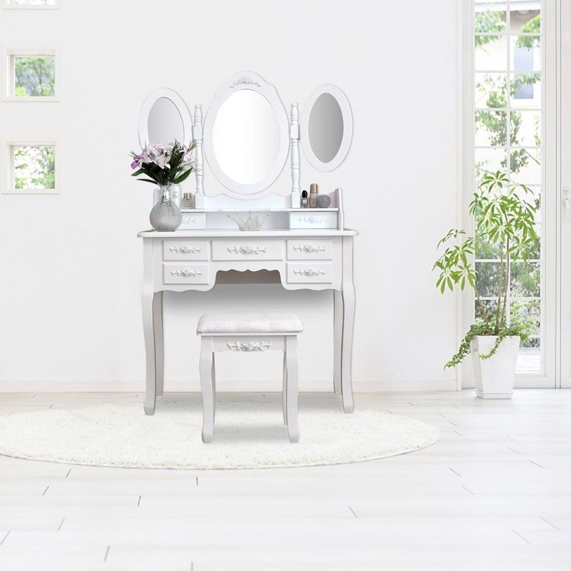 Foldable 3 Mirrors With 7 Drawers Dressing Table High Quality, Reasonable Price Quick And Easy To Install Take Up Less Space