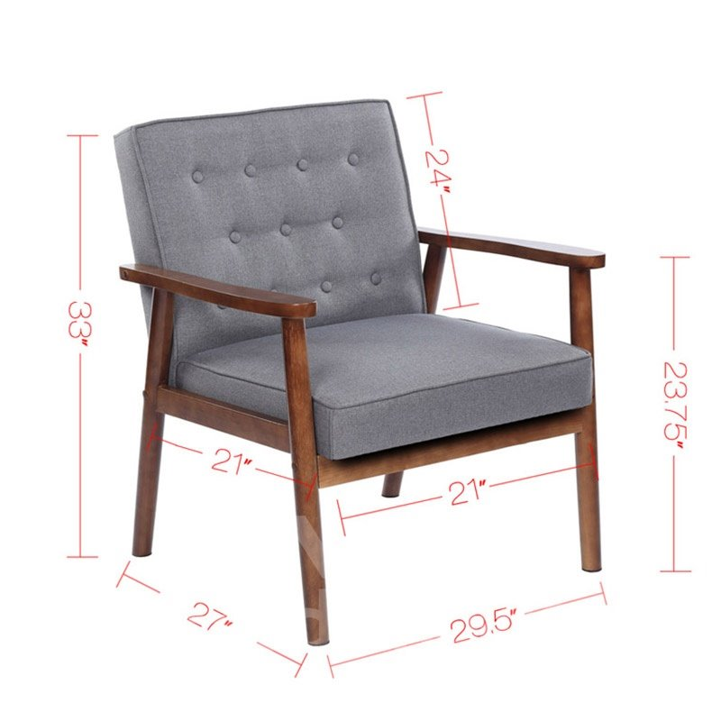 Retro Modern Fabric Upholstered Wooden Lounge Chair Solid Rubber Wood Legs And Frames Large Loading Capacity Good Stability
