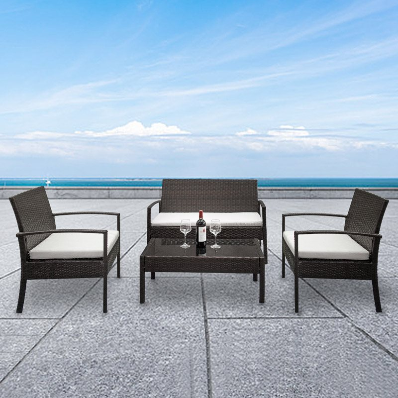 2PCS Arm Chairs,1PCS Love Seat,1PCS Tempered Glass Coffee Table,Made Of High Quality PE Rattan And Iron Frame, Stable, Sturdy And Durable