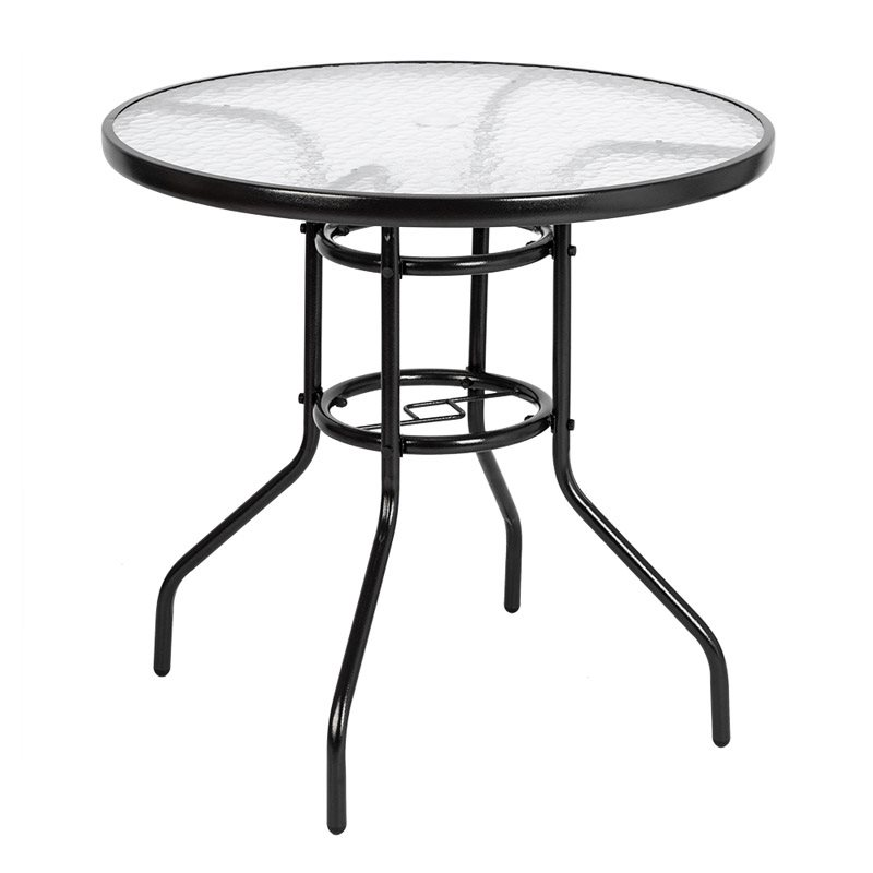 Steel Glass Outdoor Dining Table Special Material Against Severe Weather And Ensure Longer Service Life Easy To Assemble, Moment To Clean With Wet Clo