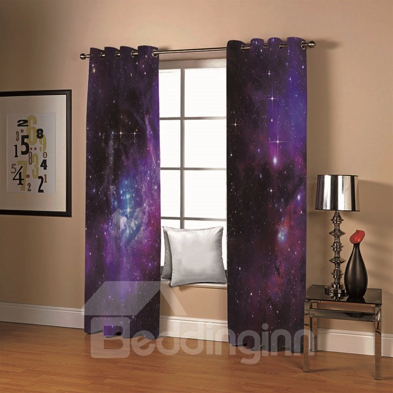 3d Printed Purple Starry Sky Fantastic Living Room Bedroom Blackout Window Scenery Curtains 260g/ã?¡ Thick Polyester For Better Shading Effect