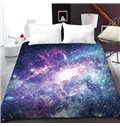 Blue And Purple Cosmic Galaxies 3D Printed Polyester 1-Piece Warm Quilt
