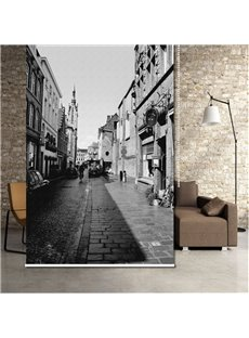 Black and White Street Vintage Style 3D Printed Blackout Roller Shades