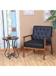 Retro Modern Fabric PU Upholstered Wooden Lounge Chair Solid Rubber Wood Legs And Frames Smell Is Pure And Fresh