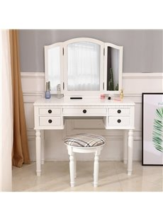Simple And Fashionable European-Style Dressing Table Three - Fold Square HD Mirror Five Drawers Easy For Installation