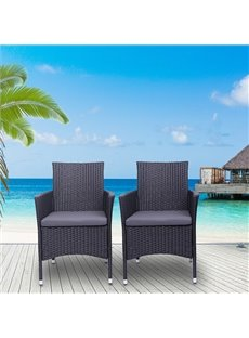 2PCS Single Backrest Chairs Rattan Sofa Set Adopting High Quality PE Rattan And Iron Frame Stable, Sturdy And Durable