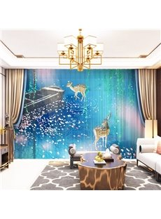 3D Golden Elks and Little Boat Printed Decorative 2 Panels Custom Sheer