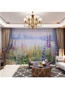 3D Nordic Style Lavender Printed Decorative 2 Panels Custom Sheer