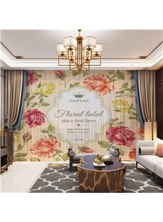 3D Warm and Fragrant Colorful Flowers Printed Decorative 2 Panels Custom Sheer