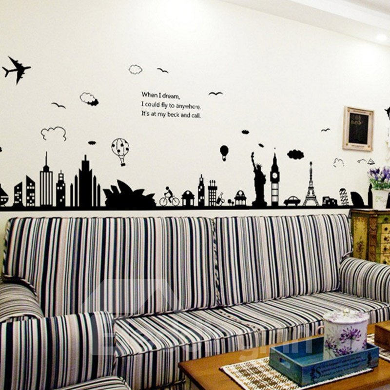 Black And White Cut Paintings of Modern Cities Easy To Tear And Stick DIY Wall Sticker