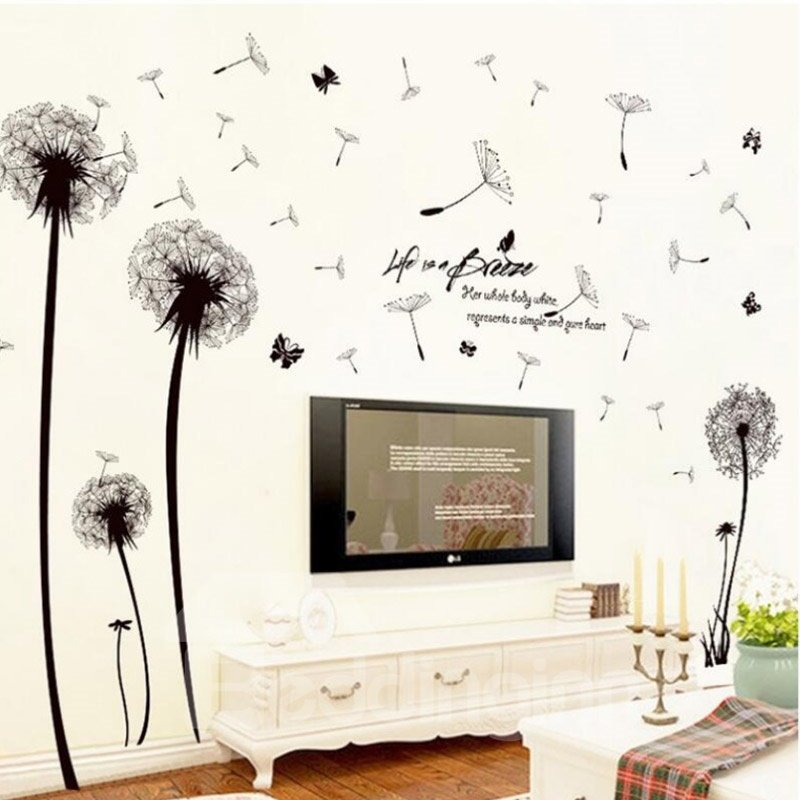 Dandelions Blown Away By The Wind Easy To Tear And Stick DIY Wall Sticker