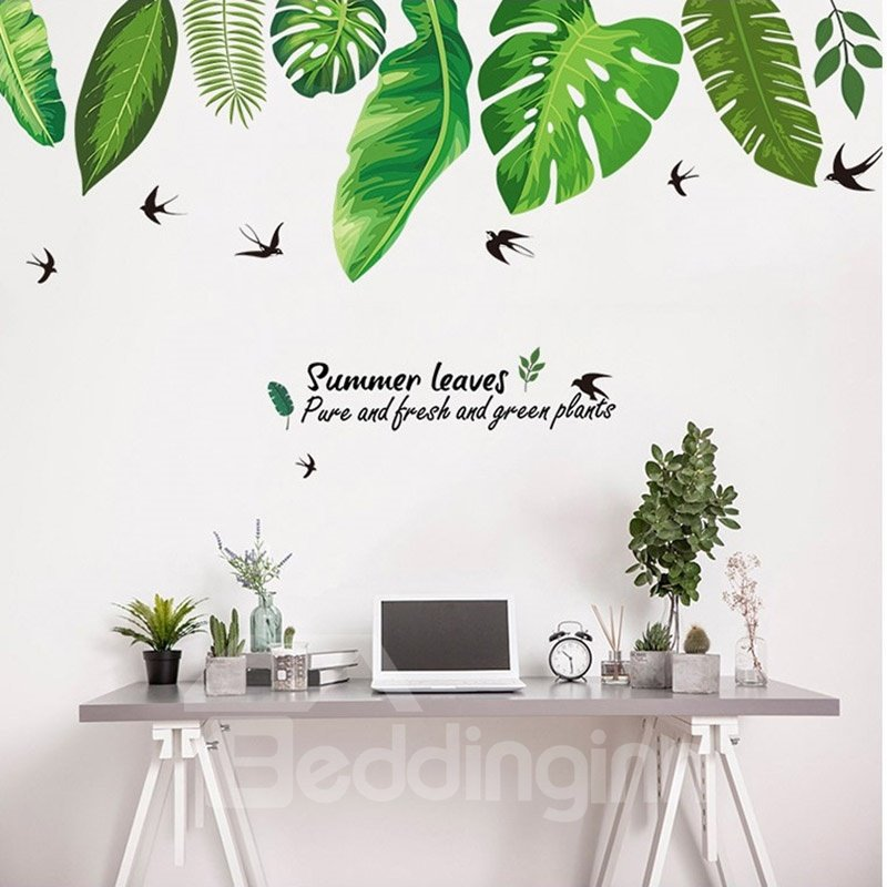 Green Tropical Leaves Easy To Tear And Stick DIY Wall Sticker
