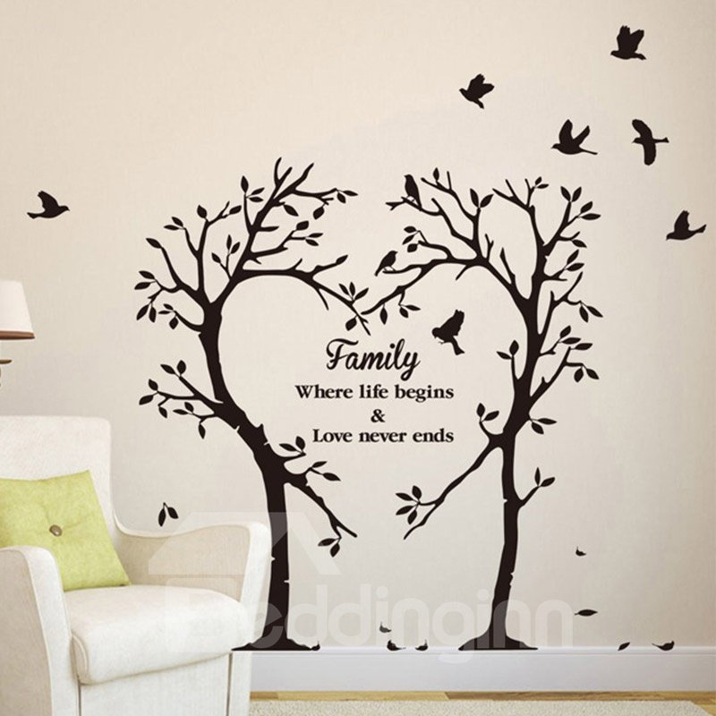 Heart-shaped Family Tree Easy To Tear And Stick DIY Wall Sticker