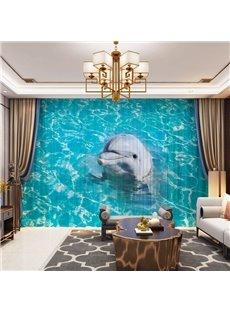 3D Sea Theme Lovely Dolphin Printed Decorative 2 Panels Custom Sheer