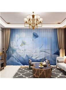 3D Elegant High Quality Water Lilies Printed Decorative 2 Panels Custom Sheer