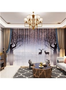 3D Lovely Elks and Fantastic Tree Printed Decorative 2 Panels Custom Sheer