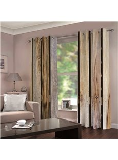 Vintage Rustic Style Natural Wooden Printed Blackout 3D Scenery Curtains