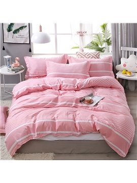 Simple Style Pink Stripes Soft And Cozy 4-Piece Polyester Bedding Sets/Duvet Covers