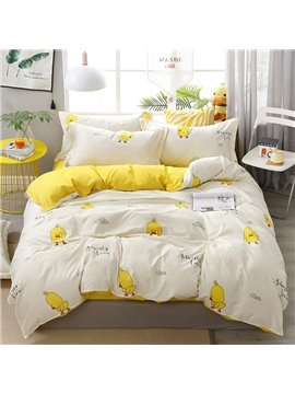 Lovely Yellow Ducks Soft And Cozy 4-Piece Polyester Bedding Sets/Duvet Covers