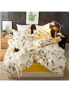 Refreshing Yellow Pineapple Soft And Cozy 4-Piece Polyester Bedding Sets/Duvet Covers