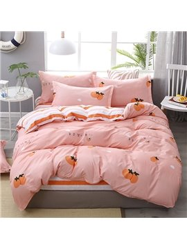 Tangerine Pink Double-sided Soft And Cozy 4-Piece Polyester Bedding Sets/Duvet Covers