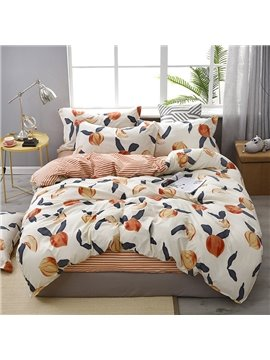 Sweet Peach Soft And Cozy 4-Piece Polyester Bedding Sets/Duvet Covers
