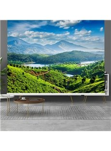3D Natural Style Green Mountains and Blue Sky Printed Blackout Curtain Roller Shade