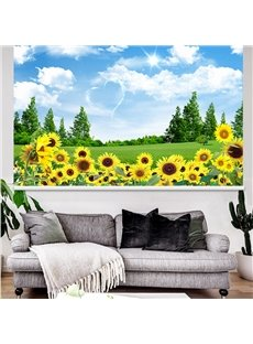 3D Natural Style Sunflowers Printed Blackout Curtain Roller Shade