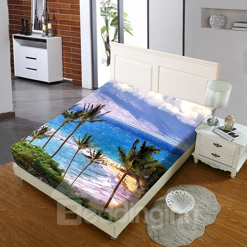 Hawaiian Vacation Style Reactive Printing 1-Piece Polyester Bed Cover / Mattress Cover