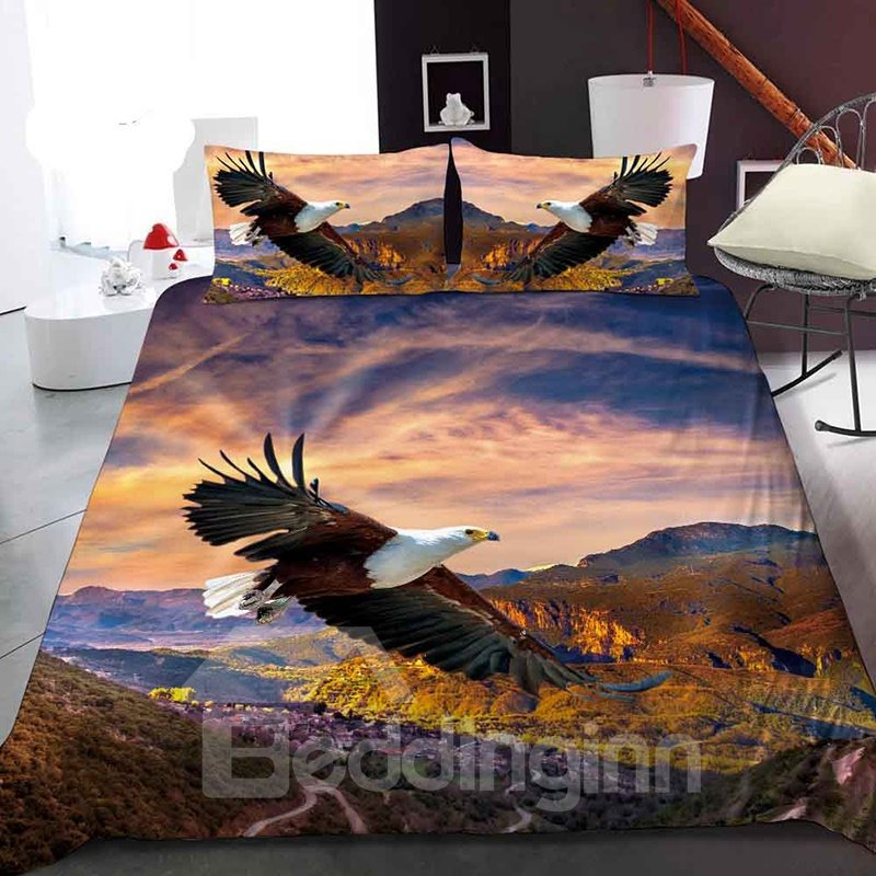 Eagles Soaring In The Valley Reactive Printing 1-Piece Polyester Bed Cover / Mattress Cover