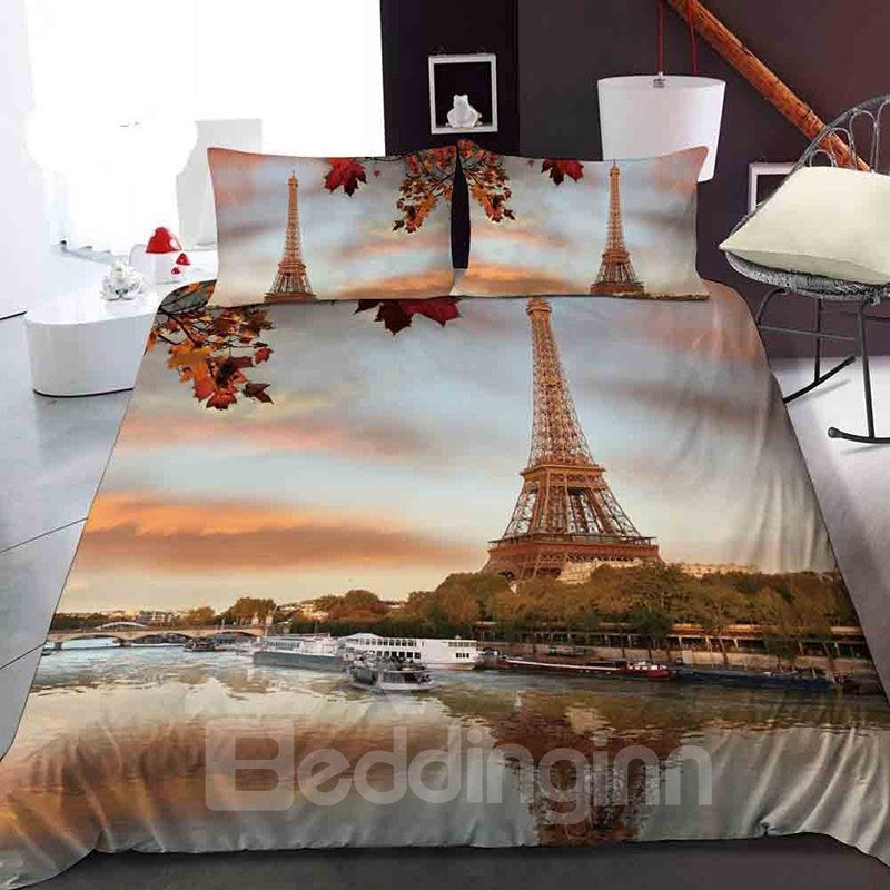 Eiffel Tower In France In Autumn Reactive Printing 1-Piece Polyester Bed Cover / Mattress Cover