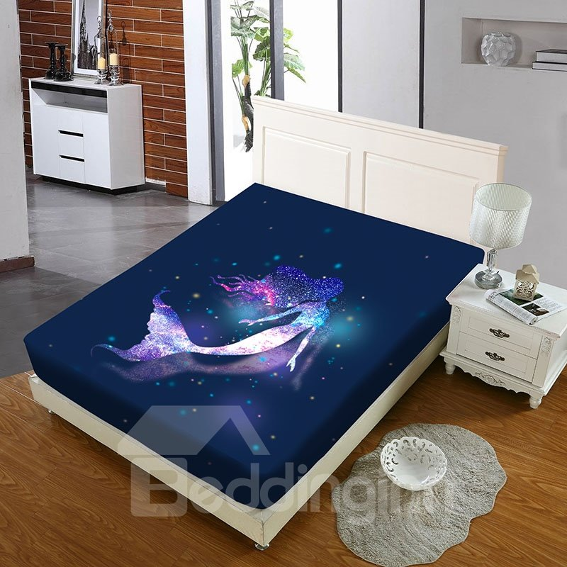 Mermaid In The Galaxy Reactive Printing 1-Piece Polyester Bed Cover / Mattress Cover